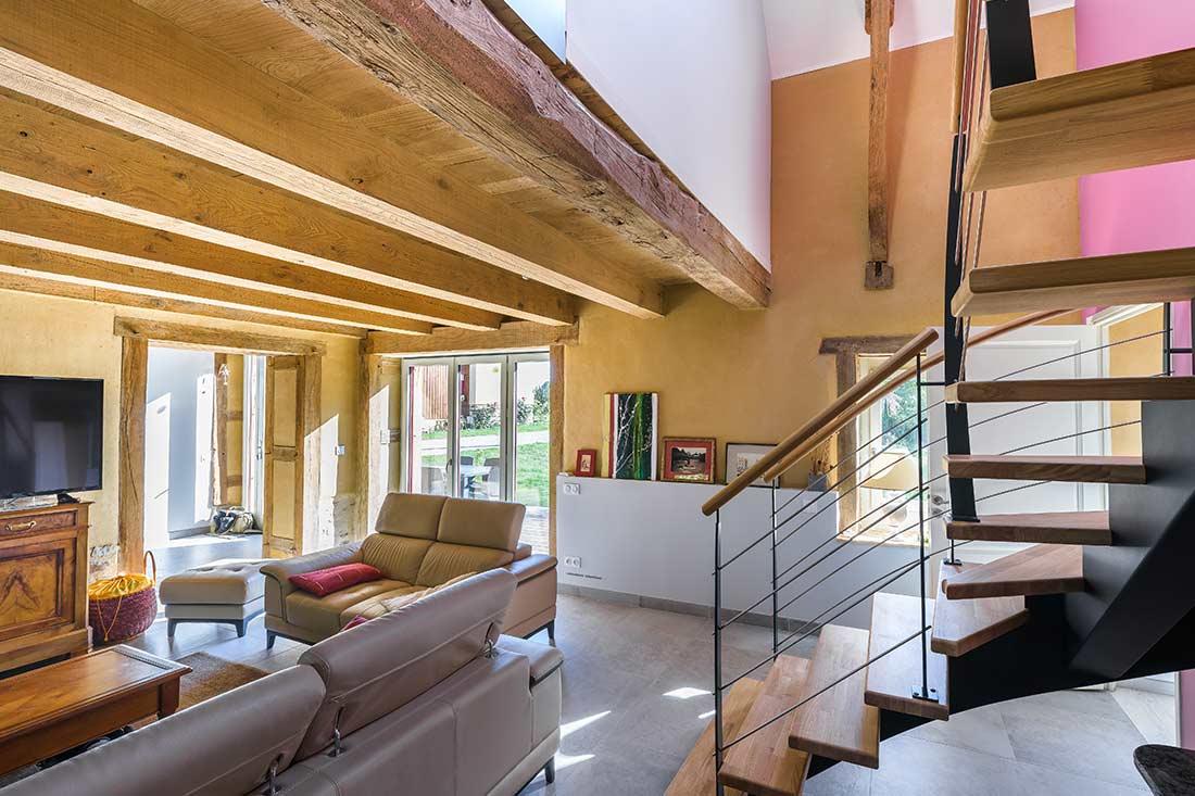 Rénovation intérieure d'une longère bretonne en torchis par l'Atelier ALP